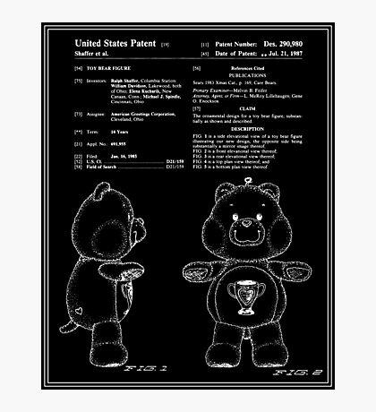 Champ Bear Patent - Black Photographic Print