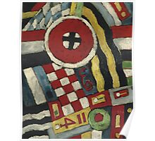 Marsden Hartley - Berlin Abstraction. Abstract painting: abstract art, geometric, expressionism, composition, lines, forms, creative fusion, spot, shape, illusion, fantasy future Poster