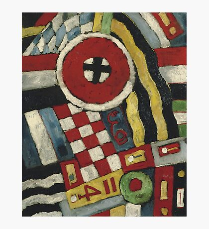 Marsden Hartley - Berlin Abstraction. Abstract painting: abstract art, geometric, expressionism, composition, lines, forms, creative fusion, spot, shape, illusion, fantasy future Photographic Print