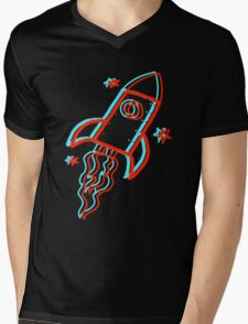 3D Rocket Mens V-Neck T-Shirt