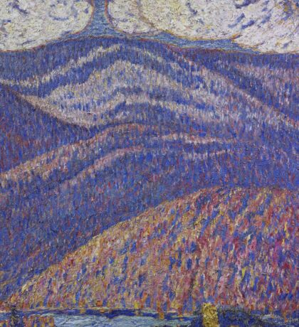Marsden Hartley - Hall Of The Mountain King. Mountains landscape: mountains, rocks, rocky nature, sky and clouds, trees, peak, forest, rustic, hill, travel, hillside Sticker