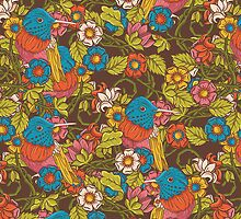 Vintage floral  pattern with humming bird by Olena Syerozhym