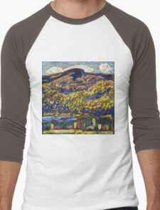 Marsden Hartley - Mountain Lake-Autumn. Mountains landscape: mountains,  Lake, rocky nature, sky and clouds, trees, peak, forest, rustic, hill, travel, Autumn Men's Baseball ¾ T-Shirt