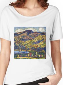 Marsden Hartley - Mountain Lake-Autumn. Mountains landscape: mountains,  Lake, rocky nature, sky and clouds, trees, peak, forest, rustic, hill, travel, Autumn Women's Relaxed Fit T-Shirt