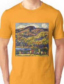 Marsden Hartley - Mountain Lake-Autumn. Mountains landscape: mountains,  Lake, rocky nature, sky and clouds, trees, peak, forest, rustic, hill, travel, Autumn Unisex T-Shirt