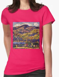 Marsden Hartley - Mountain Lake-Autumn. Mountains landscape: mountains,  Lake, rocky nature, sky and clouds, trees, peak, forest, rustic, hill, travel, Autumn Womens Fitted T-Shirt