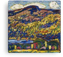 Marsden Hartley - Mountain Lake-Autumn. Mountains landscape: mountains,  Lake, rocky nature, sky and clouds, trees, peak, forest, rustic, hill, travel, Autumn Canvas Print