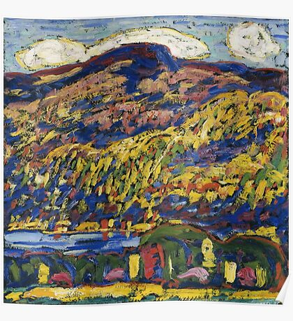 Marsden Hartley - Mountain Lake-Autumn. Mountains landscape: mountains,  Lake, rocky nature, sky and clouds, trees, peak, forest, rustic, hill, travel, Autumn Poster