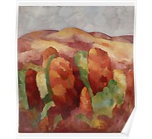 Marsden Hartley - Mountains. Mountains landscape: mountains, rocks, rocky nature, sky and clouds, trees, peak, forest, rustic, hill, travel, hillside Poster