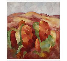 Marsden Hartley - Mountains. Mountains landscape: mountains, rocks, rocky nature, sky and clouds, trees, peak, forest, rustic, hill, travel, hillside Photographic Print