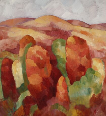 Marsden Hartley - Mountains. Mountains landscape: mountains, rocks, rocky nature, sky and clouds, trees, peak, forest, rustic, hill, travel, hillside Sticker