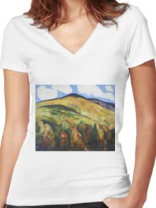Marsden Hartley - Mountains No. 22. Mountains landscape: mountains, rocks, rocky nature, sky and clouds, trees, peak, forest, rustic, hill, travel, hillside Women's Fitted V-Neck T-Shirt