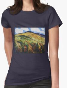 Marsden Hartley - Mountains No. 22. Mountains landscape: mountains, rocks, rocky nature, sky and clouds, trees, peak, forest, rustic, hill, travel, hillside Womens Fitted T-Shirt