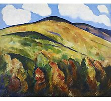 Marsden Hartley - Mountains No. 22. Mountains landscape: mountains, rocks, rocky nature, sky and clouds, trees, peak, forest, rustic, hill, travel, hillside Photographic Print
