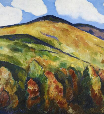 Marsden Hartley - Mountains No. 22. Mountains landscape: mountains, rocks, rocky nature, sky and clouds, trees, peak, forest, rustic, hill, travel, hillside Sticker