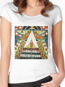 Marsden Hartley - Painting No. 50. Abstract painting: abstract art, geometric, expressionism, composition, lines, forms, creative fusion, spot, shape, illusion, fantasy future Women's Fitted Scoop T-Shirt