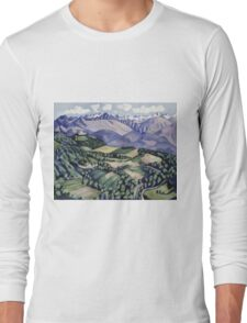 Marsden Hartley - Purple Mountains, Vence. Mountains landscape: mountains, rocks, rocky nature, sky and clouds, trees, peak, forest, Purple Mountains, hill, travel, hillside Long Sleeve T-Shirt