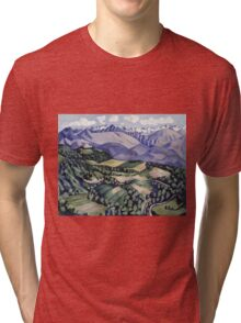 Marsden Hartley - Purple Mountains, Vence. Mountains landscape: mountains, rocks, rocky nature, sky and clouds, trees, peak, forest, Purple Mountains, hill, travel, hillside Tri-blend T-Shirt