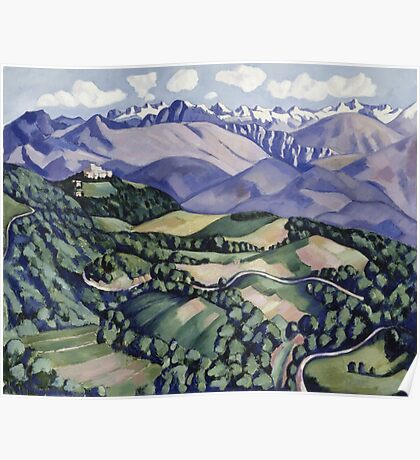 Marsden Hartley - Purple Mountains, Vence. Mountains landscape: mountains, rocks, rocky nature, sky and clouds, trees, peak, forest, Purple Mountains, hill, travel, hillside Poster