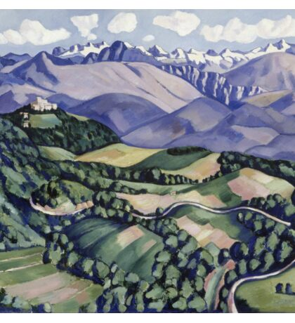 Marsden Hartley - Purple Mountains, Vence. Mountains landscape: mountains, rocks, rocky nature, sky and clouds, trees, peak, forest, Purple Mountains, hill, travel, hillside Sticker