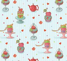 Cupcake seamless pattern by tomuato