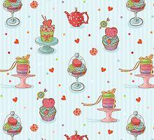 Cupcake seamless pattern by Olena Syerozhym