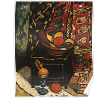 Marsden Hartley - Still Life . Still life with fruits and vegetables: still life with fruits and vegetables, fruit, vegetable, grapes, tasty, gastronomy food, flowers, dish, cooking, kitchen, vase Poster