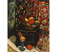 Marsden Hartley - Still Life . Still life with fruits and vegetables: still life with fruits and vegetables, fruit, vegetable, grapes, tasty, gastronomy food, flowers, dish, cooking, kitchen, vase Photographic Print