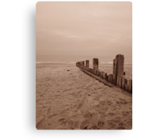 Hornsea beach in sepia Canvas Print