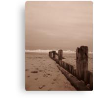 Hornsea beach in sepia 2 Canvas Print