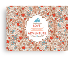 Seamless valentines decor pattern with flowers and hearts Canvas Print