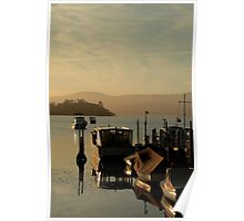 Wooden boats at sunset Poster