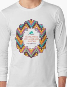 Navajo colorful  tribal pattern with geometric elements Long Sleeve T-Shirt