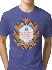 Navajo colorful  tribal pattern with geometric elements Tri-blend T-Shirt