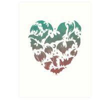 Bat Heart; blue/pink ombre Art Print