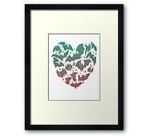 Bat Heart; blue/pink ombre Framed Print