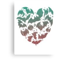 Bat Heart; blue/pink ombre Canvas Print