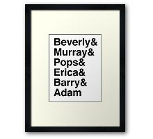 The Goldbergs Character List Helvetica Framed Print