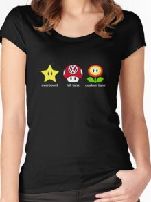 VW Power Up (white print) Women's Fitted Scoop T-Shirt
