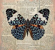 Vintage Blue and Brown Butterfly by claryce84