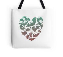 Bat Heart; blue/pink ombre Tote Bag