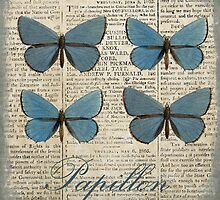 Vintage Blue Butterflies by claryce84