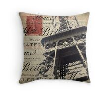 Eiffel Tower with Red Stamp Throw Pillow