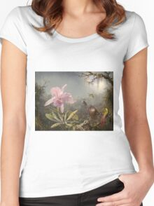 Martin Johnson Heade - Cattleya Orchid And Three Hummingbirds. Lake landscape: trees, river, land, forest, marine coast seaside, waves and beach, lagoon reflection, sun clouds, nautical panorama, lake Women's Fitted Scoop T-Shirt
