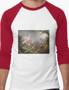Martin Johnson Heade - Cattleya Orchid And Three Hummingbirds. Lake landscape: trees, river, land, forest, marine coast seaside, waves and beach, lagoon reflection, sun clouds, nautical panorama, lake Men's Baseball ¾ T-Shirt