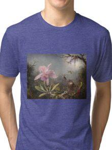 Martin Johnson Heade - Cattleya Orchid And Three Hummingbirds. Lake landscape: trees, river, land, forest, marine coast seaside, waves and beach, lagoon reflection, sun clouds, nautical panorama, lake Tri-blend T-Shirt