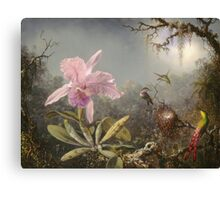 Martin Johnson Heade - Cattleya Orchid And Three Hummingbirds. Lake landscape: trees, river, land, forest, marine coast seaside, waves and beach, lagoon reflection, sun clouds, nautical panorama, lake Canvas Print