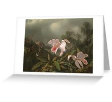 Martin Johnson Heade - Jungle Orchids And Hummingbirds. Still life with flowers: flowers, hummingbird, nest, orchid,  lotus blossom, wonderful flower, forest, passion flowers, garden, magnolias Greeting Card