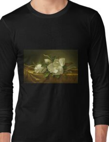 Martin Johnson Heade - Magnolias On Gold Velvet Cloth 1888. Still life with flowers: hummingbird, nest, orchid,  lotus blossom, wonderful flower, forest, passion flowers, garden, magnolias Long Sleeve T-Shirt