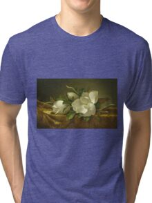 Martin Johnson Heade - Magnolias On Gold Velvet Cloth 1888. Still life with flowers: hummingbird, nest, orchid,  lotus blossom, wonderful flower, forest, passion flowers, garden, magnolias Tri-blend T-Shirt